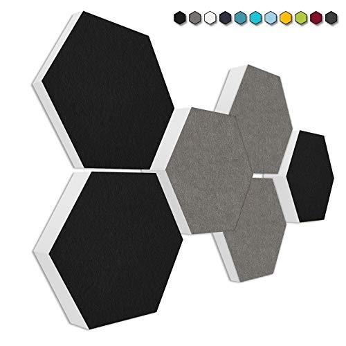 "Basotect G+ Schallabsorber 3D-Set""Colore"" Akustikelemente Filzoberfläche SCHWARZ + GRANITGRAU"
