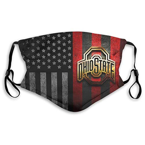 Ohio State Buckeyes_Mask Face Guard Dust Pattern Reusable Washable Breathable Outdoor Double Design with 2 Filter for Child