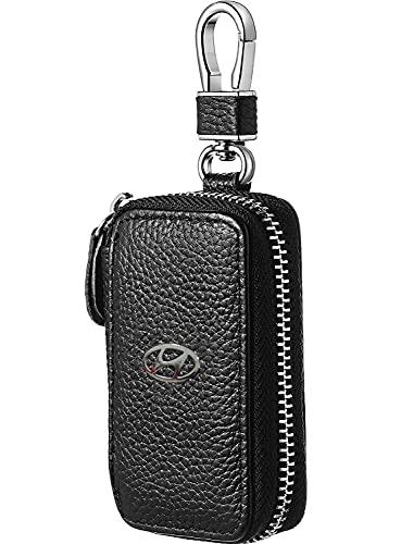 Hyundai Car Key Holder Zipper Bag for Hyundai,Leather Car Key case Smart Key Chain Keychain Metal Hook and Keyring Remote Key Fob