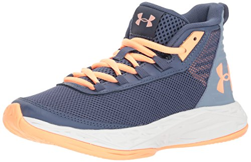 Under Armour Girls' Grade School Jet 2018 Basketball Shoe, Utility Blue (500)/Washed Blue, 6