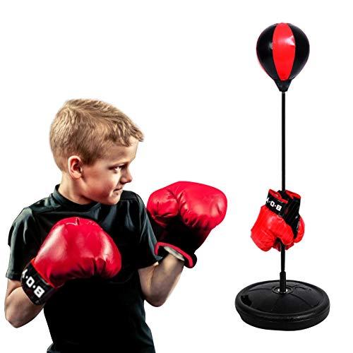 VIFER Boxset Höhenverstellbare Kinder Punching Ball Bag Speed Boxen Sport Set Kampfspiel mit Handschuhen