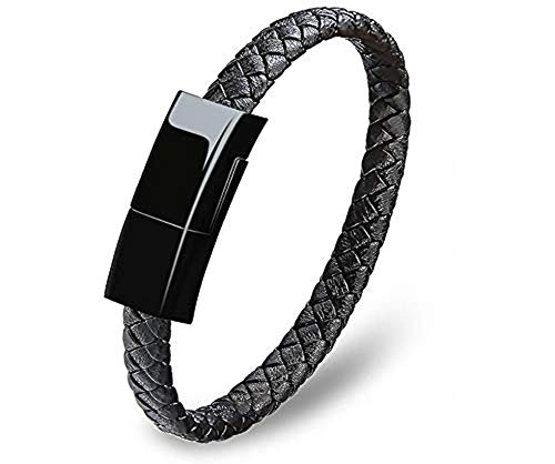 Bracelet Lightning Cable Data Charging Cord for iPhone Braided Leather Wrist Cuff USB for iPhone 5/6/7/8/ 10/11/12 X iPAD Perfect Birthday/Christmas/New Year Gift for Family Lovers Friends (Black)