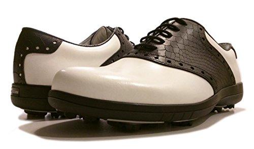 Delux Classic Portmann scarpe da golf | durevole impermeabile in pelle pieno fiore TPU suola (bianco Cal.\ nero coccodrillo, UK 9.5\ 44)