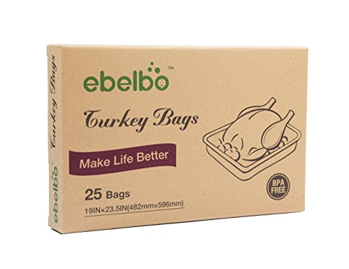 Ebelbo Oven Turkey Cooking Bags, Roasting Bags For Food - Large Size 19x23.5 Inch, 25 Pack