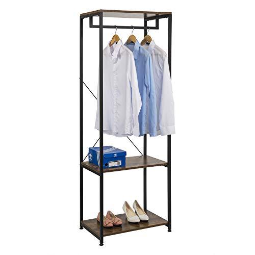 EUGAD Kleiderständer Garderobenständer Wäschständer mit Kleiderstange und 2 Ablagen aus Metall...