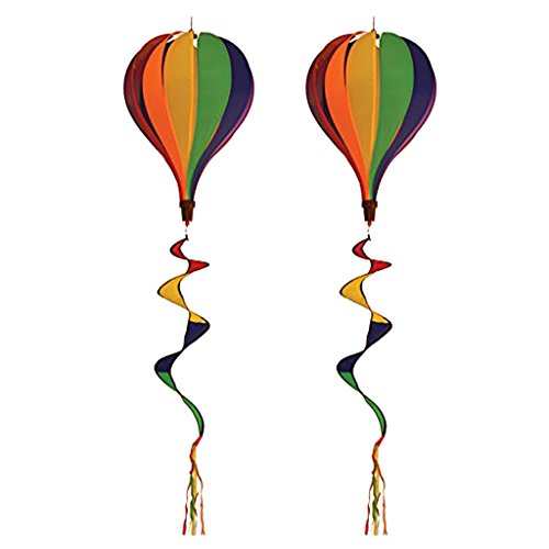 SM SunniMix 2PCS Brightly Colored Hot Air Balloon Wind Spinners for Home Garden, Backyard, Lawn, Camping Decorating, Outdoor Advertisements, Festival Celebration