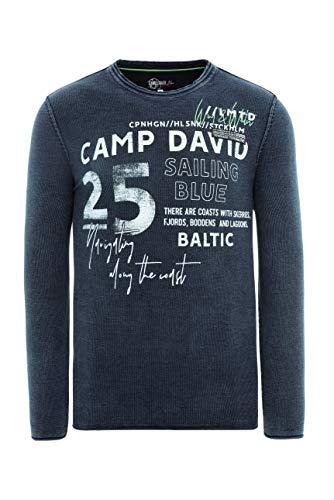 Camp David Herren Pullover mit Used-Optik und Artwork