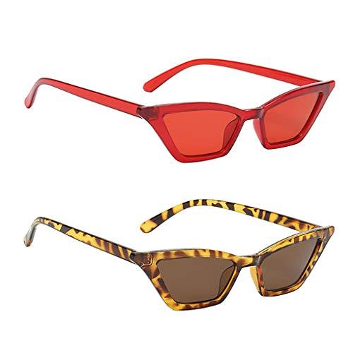 Amuzocity 2 Piezas de Gafas de Sol de Ojo de Gato de Moda para Mujer con Montura de Plástico Y Lentes UV400