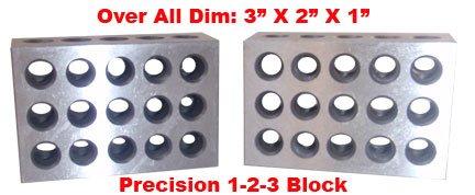 """BL-123 Pair of 1"""" x 2"""" x 3"""" Precision Steel 1-2-3 Blocks"""
