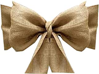 VDS - 10 PCS Natural Burlap Chair Sashes Bows Ties Natural Jute Country Vintage for Wedding Party Ceremony Reception Decorations Supplies