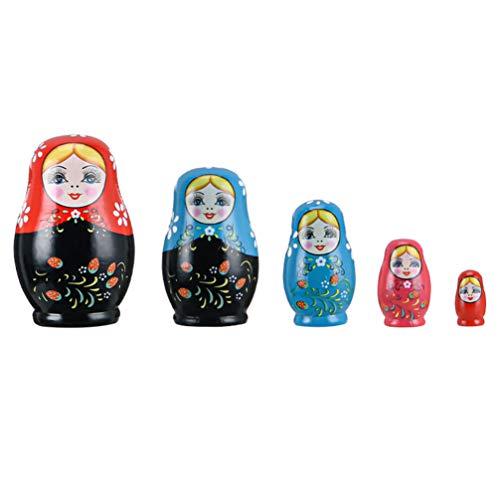Toyvian 1 Satz Russische Nistpuppen Mädchen Matchka Hlz Stapeln Nistspielzeug Setzt Gertstagsgeschenk