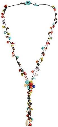 AeraVida Pretty Long Multi Stone Cluster Drop Cotton Wax Rope Multi Strand Necklace product image