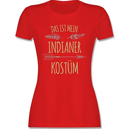 Karneval & Fasching - Das ist Mein Indianer Kostüm - XXL - Rot - rosa Indianer kostüm Damen - L191 - Tailliertes Tshirt für Damen und Frauen T-Shirt