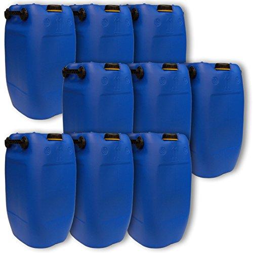 Wilai GmbH Lot de 9 bidons – Jerrican 60 L, 3 poignées, Bleu HDPE Ouverture DIN 71 qualité Alimentaire (9x22047)