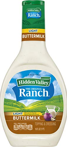 Hidden Valley Buttermilk Ranch Light Salad Dressing & Topping, Gluten Free - 16 Ounce Bottle - Pack of 6 (Package May Vary)