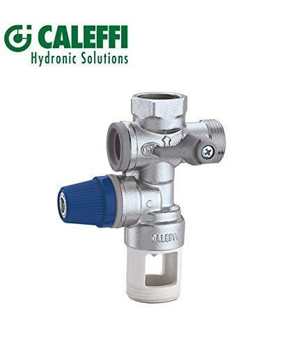 Caleffi 526152 Sicherheitsgruppe für Warmwasser-Speicher mit Absperrung, Kontrollierbarem Rückschlagventil und Entleerungssiphon, 3/4 Zoll