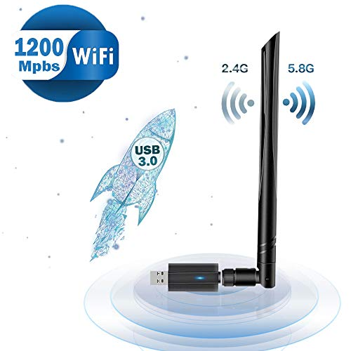 Lanero WLAN Stick 1200Mbit/s (5G/867Mbps + 2.4G/300Mbps) WiFi Adapter USB 3.0 Wireless Adapter für Windows, Vista, Linux, MAC, PC/Desktop/Laptop …