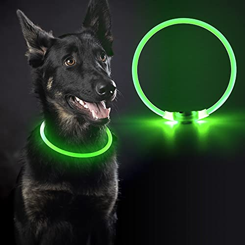 Light Up Dog Collars Safety Led Dog Collar - USB Rechargeable, Cuttable to Any Size, 360° High Visibility, Make Your Dog Safe & Seen at Night Walking, Suitable for Small Medium & Large Dogs (Green)
