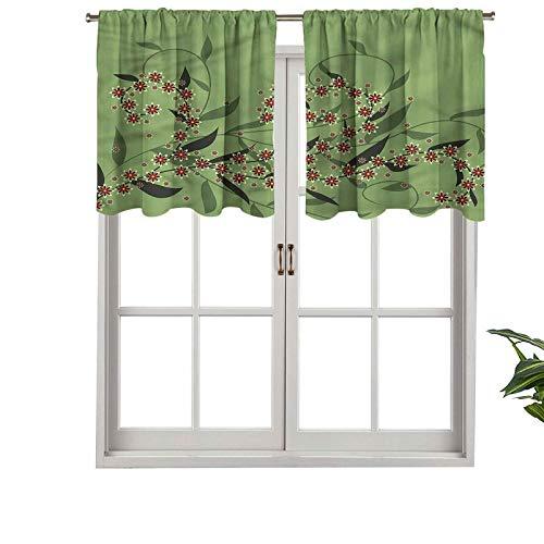 Hiiiman Cenefas de cortina opacas, cortinas cortas, con bolsillo para barra de cortina, diseño retro, flores florecientes, juego de 1, 137 x 45 cm para cocina y baño