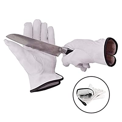 Vgo EN388 Level 5 & ANSI A3 Cut Resistant Top Grain Goatskin Work Gloves(White,GA9501HY)