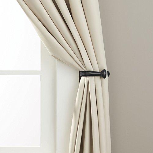 AmazonBasics Decorative Curtain Drapery Holdbacks, Set of 2, Black