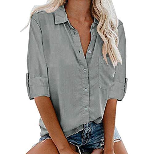 Auifor Womens Casual Roll Up lange mouwen stropdas knopen voorzijde Button-down shirt tops