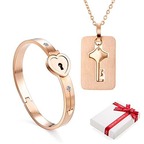 2 piezas Brazalete con cadena colgante de cerradura,juego de llaves pulseras de pulsera con cerradura de corazón de acero inoxidable en oro rosa mujeres hombres collar para parejas amistad BFF regalo
