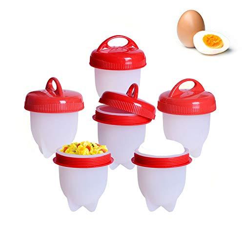 Eierkocher Silikon, Eggies BPA Frei Antihaft-Silikon Eierbecher, Eier Pochier Schnelle und Einfache ohne Schale (6-teiliges Set) - temperament fashion