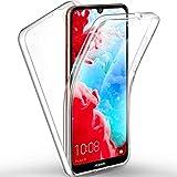 COPHONE - Funda para Huawei Y6 2019 100% Transparente 360 Grados de protección Completa Delantera Suave + Trasera rígida. Funda táctil 360 Grados antigolpes para Huawei Y6 2019