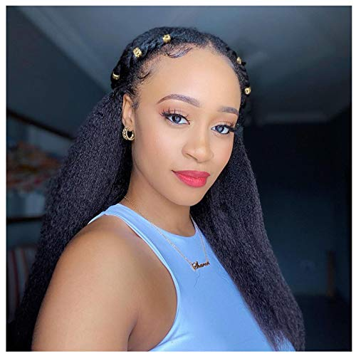 Wigmy 13X4 Kinky straight lace front wigs human hairfor black women pre plucked with baby hair, real Yaki Straight Brazilian frontal wigs human hair natural black color full and thick