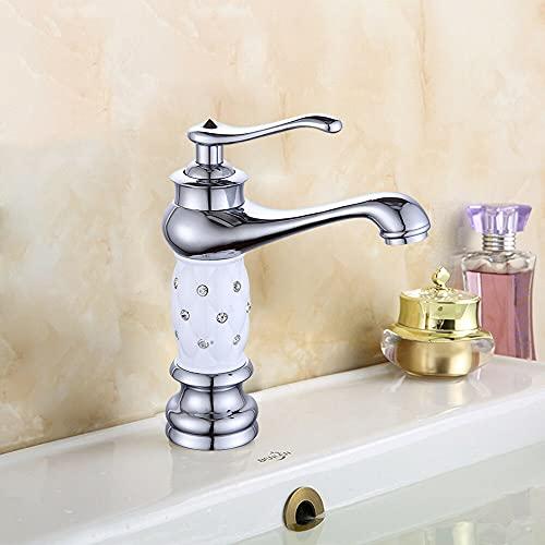 Grifo de latón antiguo, grifo de baño, grifo monomando para lavabo, grifo de baño, grifo mezclador clásico de agua fría/caliente, color plateado