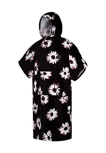 Mystic Velour Change Robe Poncho oder Wickeltuch für Beach Watersports & Surfing - Black White - Unisex