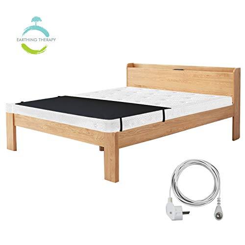 NGLVKE Atmungsaktive Erdungsbettmatte für Besseren Schlaf(68 * 180 cm), Anti-Schmutz-Matratze für Fußerdung mit 15 Fuß EU-Verbindungskabel Schwarz