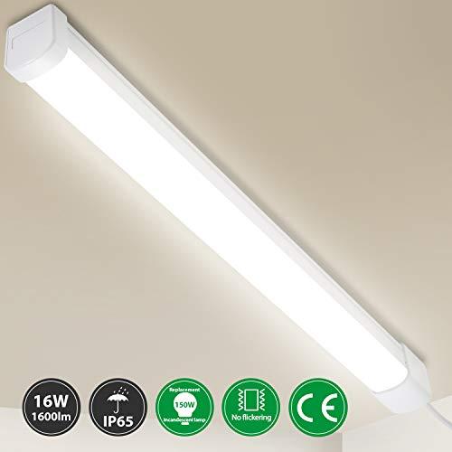 Oeegoo LED Feuchtraumleuchte 60cm, 16W 1600Lm Deckenleuchte LED Röhre, IP65 Wasserdichte Werkstattlampe Badlampe Wannenleuchte, LED Lampe für Küchen Garage Keller Warenhaus Neutralweiß 4000K