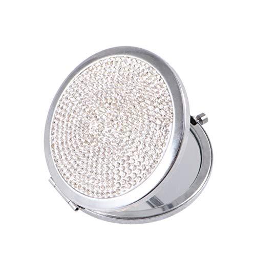 Minkissy 1Pc Double Face Miroir Pliant Strass Miroir Cosmétique Miroir de Poche Voyage Miroir de Maquillage pour Les Filles (Blanc)