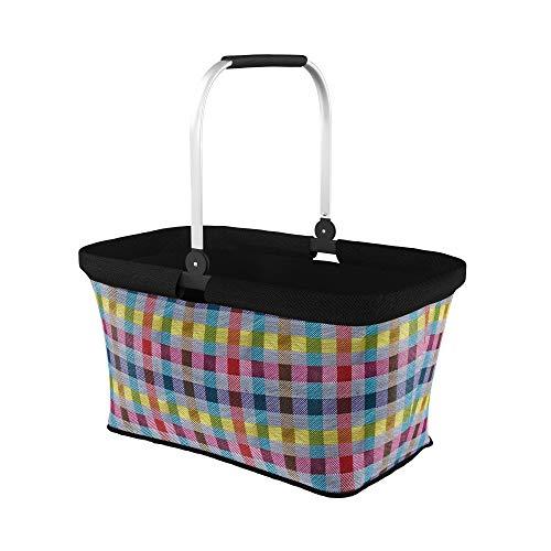 LOMOS Faltbarer Einkaufskorb mit komfortablem Henkel, Größe L, Bunte Karos