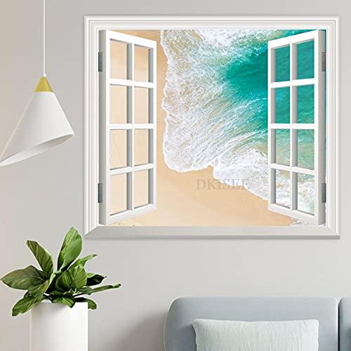 DKISEE Wpw1157 - Adhesivo decorativo para pared con vista de ventana en 3D, diseño de aguas turquesas Kelingking Beach Indonesia