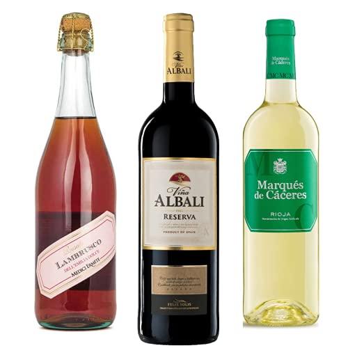 Vino para regalar - Caja de vino tinto y blanco D.O + Paleta de cebo Ibérico 90gr. I Lambrusco, Viña Albali Reserva, Marqués de Cáceres I Regalo Original
