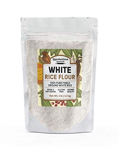 White Rice Flour, 5 lbs. by Unpretentious Baker, High-in-Fiber Alternative for Gluten-Free Baking & Cooking, Paleo & Vegan-Friendly, Unbleached & Untreated, Raw Finely-Ground Flour
