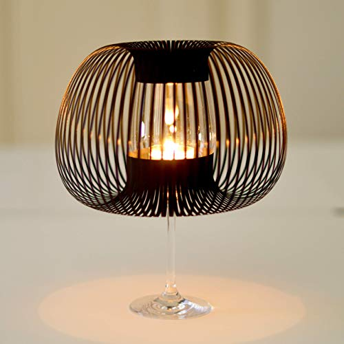 MADAME O 4er Set SCHWARZ, Papier Lampenschirme für Weingläser als Teelicht Tischleuchte, Teelichtglas Kerzenständer, Tischdeko gothic, Geburtstag Jubiläum Dekoration, originelle Geschenkidee