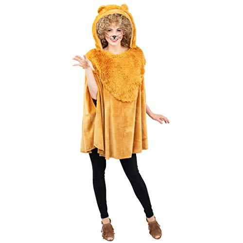 NET TOYS Dulce Capa de Peluche para Disfraz de Leona para Adulto - Marrn - Llamativo Disfraz de tigresa para Dama Cubierta - Insuperable para Carnaval al Aire Libre y Festival