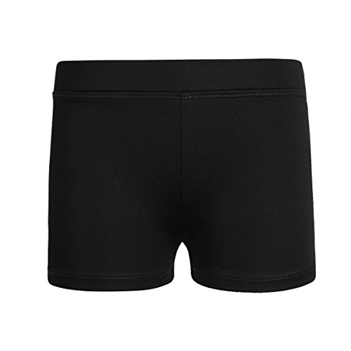 TiaoBug Kinder Mädchen Shorts Sportshorts aus glattem Stoff Stretch Kurze Hose Fitness Tanzen Yoga Shorts Hose Leggings Freizeit Hot Pants Training Tights Schwarz 92-98