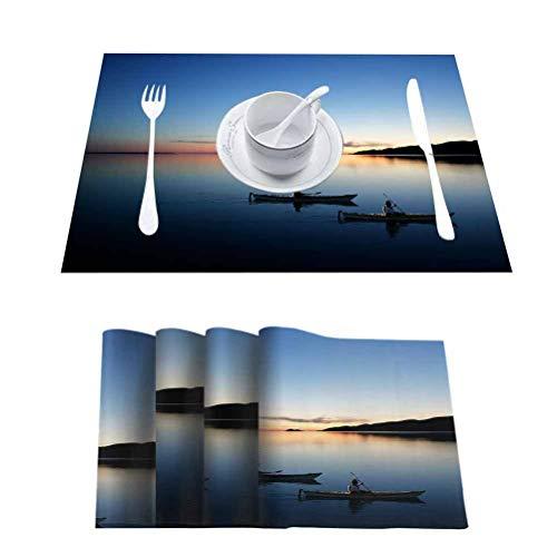 FloraGrantnan Manteles individuales resistentes a las manchas, XXL Twilight Kayakers, fáciles de limpiar Premium manteles individuales para mesa de comedor, juego de 6