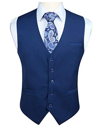 Enlision Chaleco de algodon formal para boda de fiesta para hombre Chaleco de color solido Blu navy