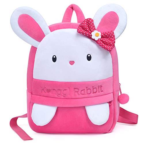 URAQT Kaninchen Rucksack, kleine Mädchen Kleinkind Mini Rucksack, niedlichen Kaninchen Bequeme weiche Tasche, Geschenk für 3-5 Jahre alte Kinder für Outdoor/Sports/Camping/Picknick Rucksäcke