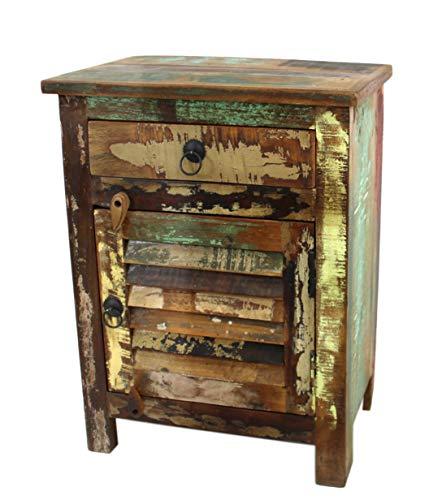 DARO DEKO Recycling Holz Möbel Nacht-Tisch mit Schublade und Tür 45 x 60cm