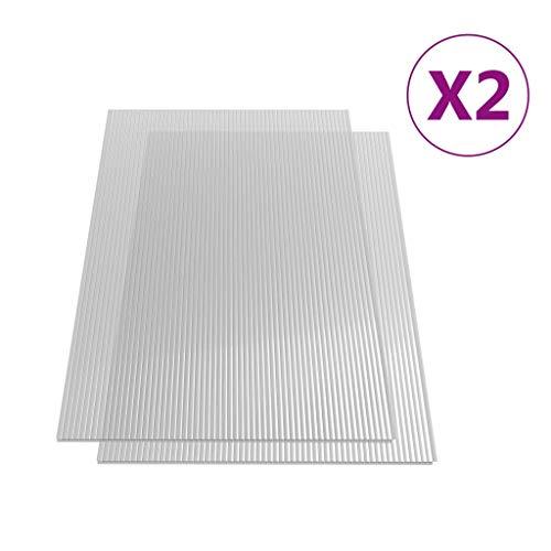 vidaXL 2x Polycarbonatplatte Doppelstegplatten Hohlkammerplatten Polycarbonat Stegplatten Hohlkammerplatte Doppelstegplatte 6mm 140x61cm
