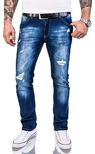 Rock Creek Herren Jeans Hose Regular Slim Stretch Jeans Herrenjeans Herrenhose Denim Stonewashed Basic Stretchhose Raw RC-2142 Blau W36 L36