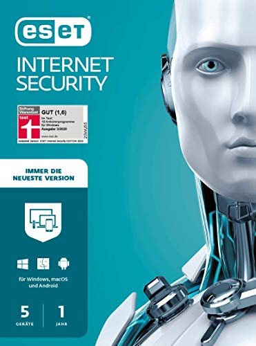 ESET Multi-Device Internet Security 2021 | 5 Geräte | 1 Jahr | Windows (10, 8, 7 und Vista), macOS, Linux und Android | Download