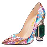 FSJ Women Bridal Pointed Toe Chunky High Heel Crystal Pumps Slip on Wedding Thick Comfort Shoes Size 8 Purple Floral